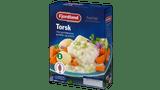 Torsk med purreløksaus, gulrøtter og poteter