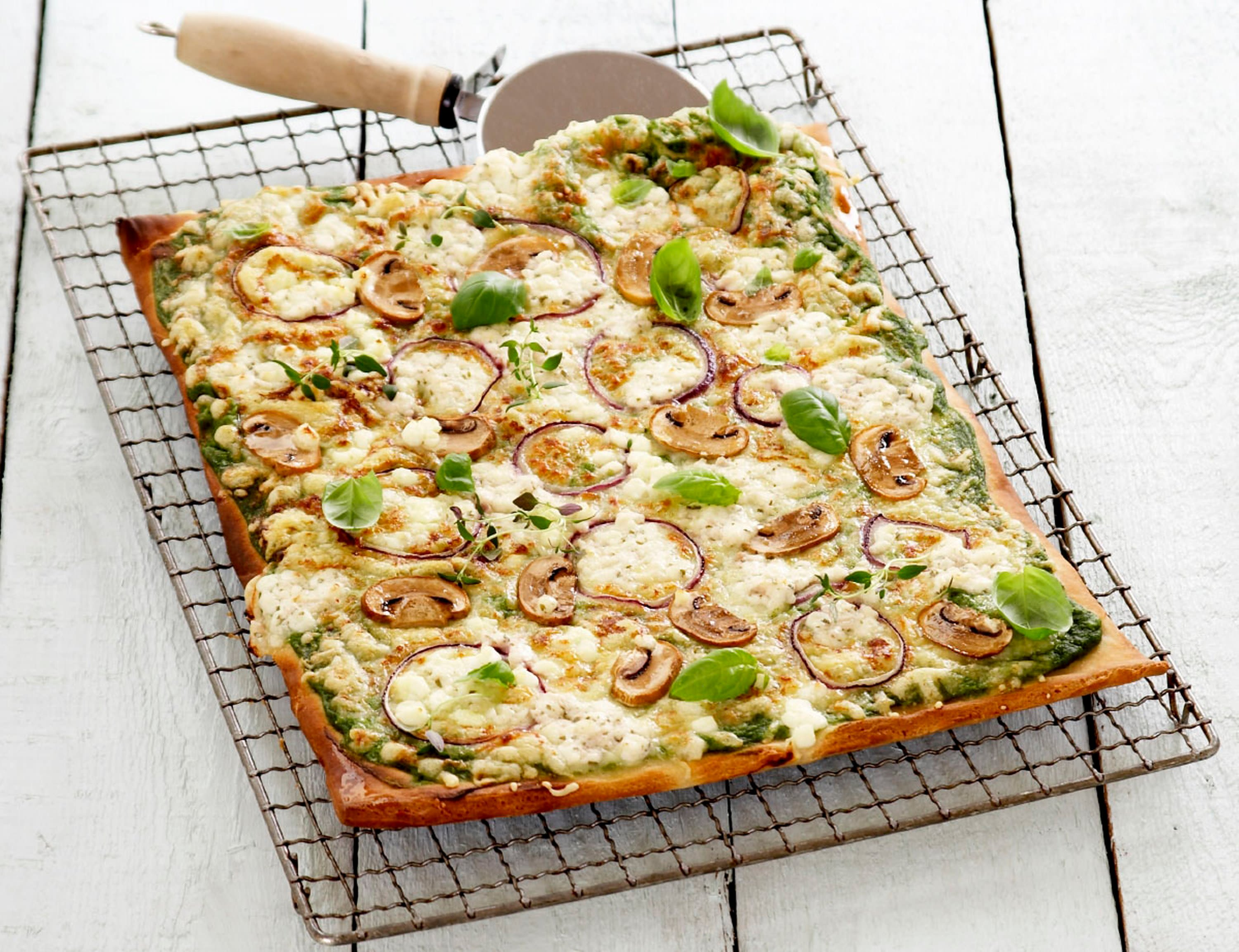 Vegetarpizza med Cottage Cheese