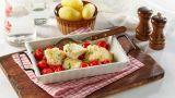 Fisk med ovnsbakte tomater
