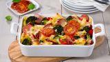 Pastaform med pølse og brokkoli
