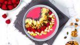 Smoothie bowl med bringebær