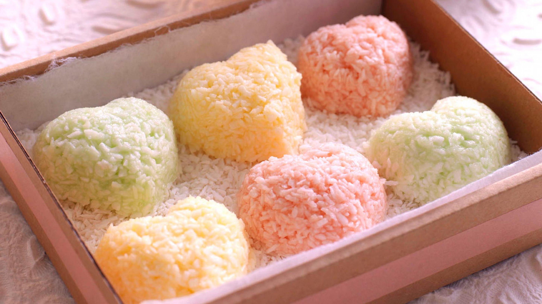 Smakfulle kokoshjerter i pastellfarger