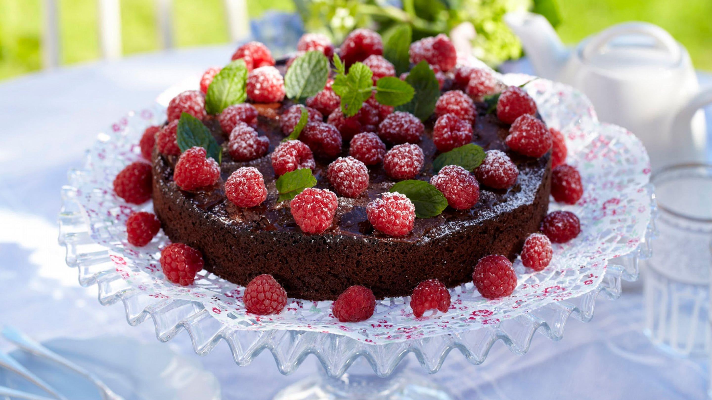 Sjokoladekake med bringebær