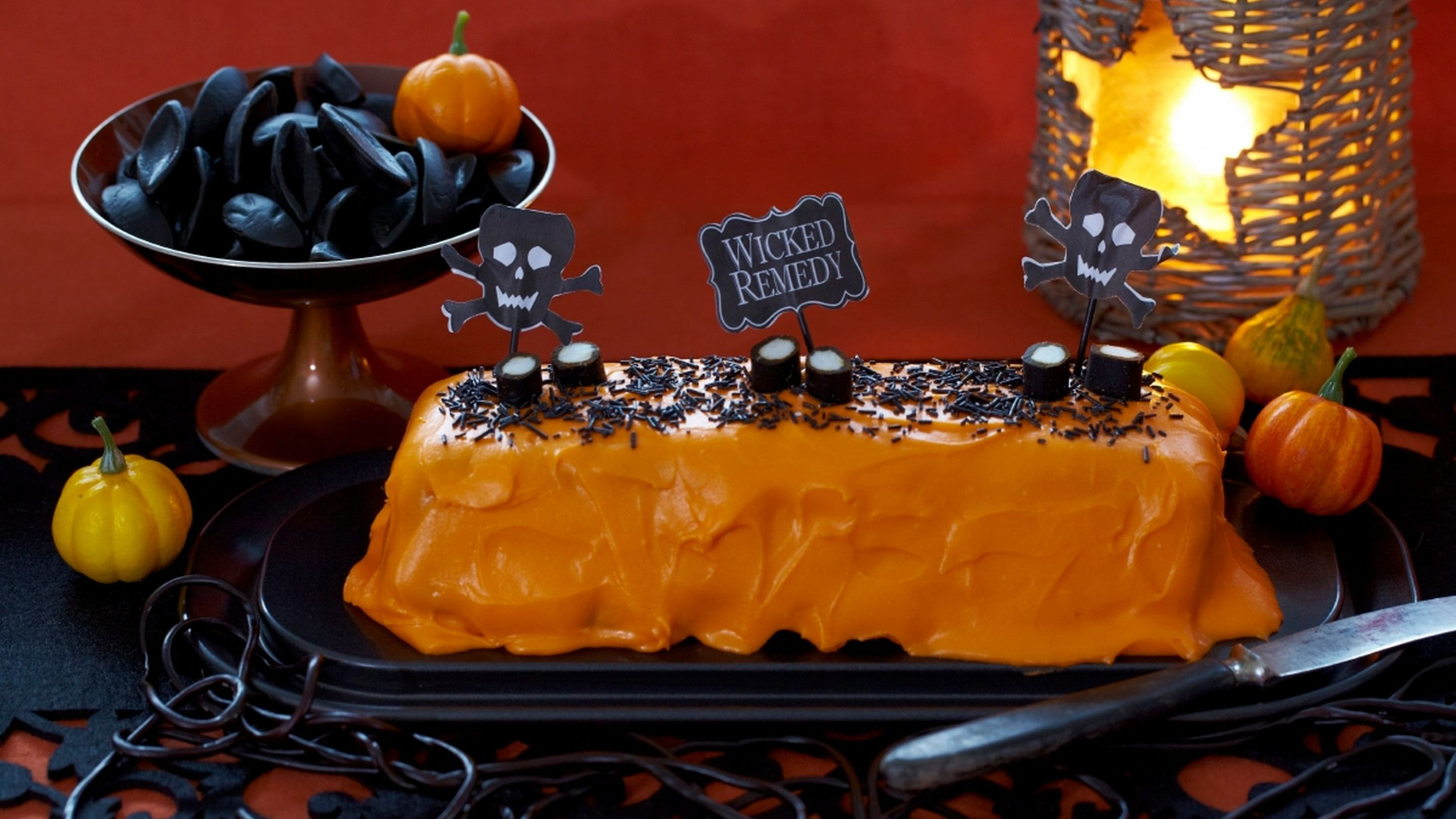 Orange halloweenkake