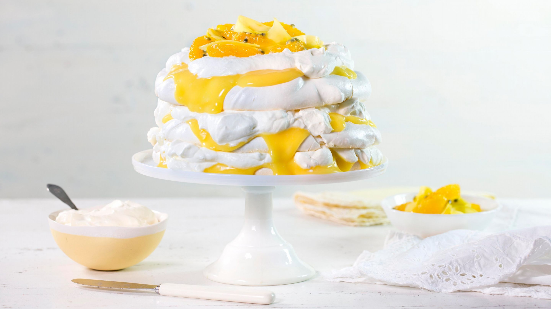 Trelags pavlova med krem og lemon curd
