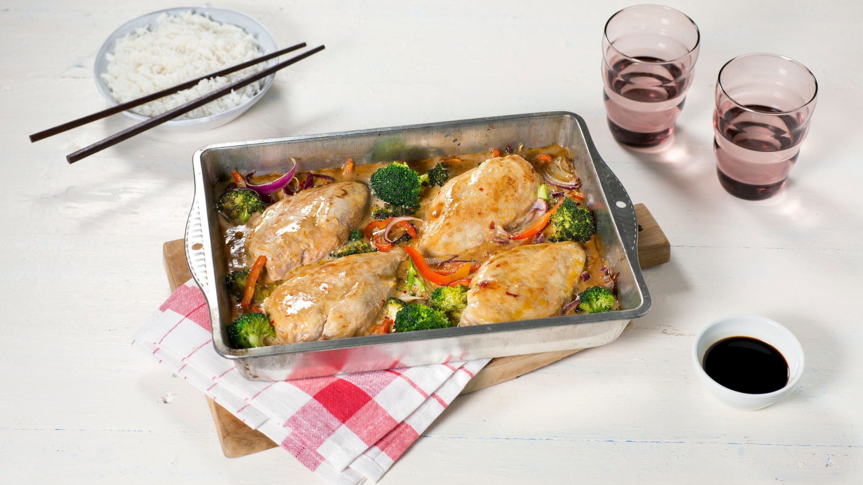 Ovnsbakt kyllingfilet med asiatisk fløtesaus