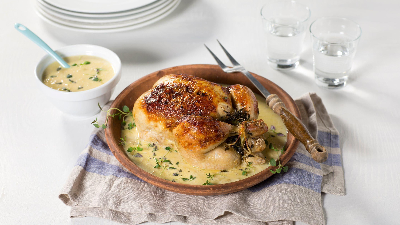 Helstekt kylling med kremet saus