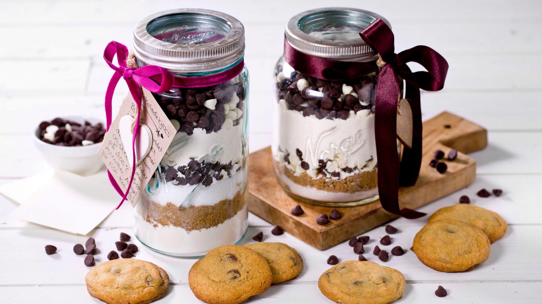 Sjokoladekjeks-miks på gaveglass