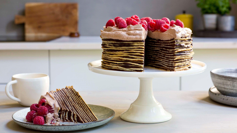 Pannekake-kake med sjokolade