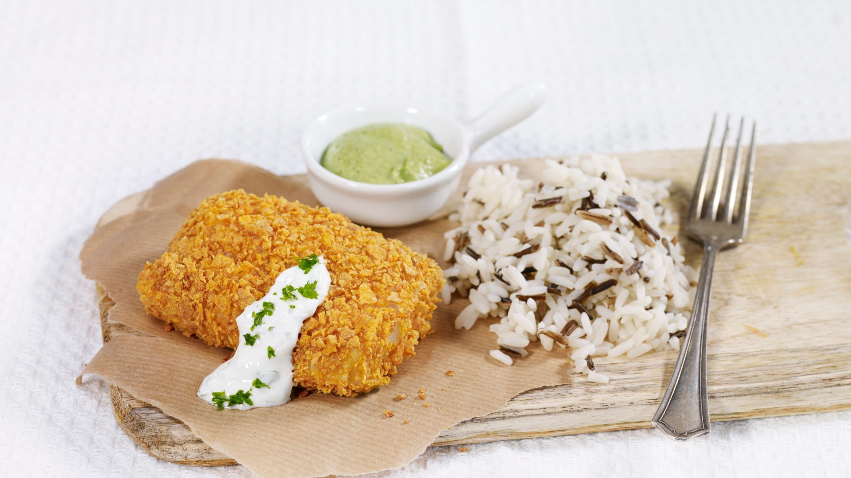 Cornflakes-panert torskefilet med brokkolipuré