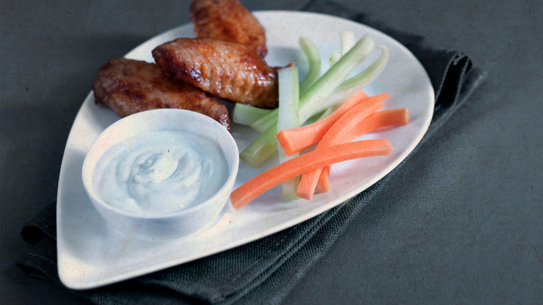 Kyllingvinger med blåmugg-dipp