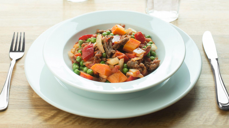 Grønnsakspanne med kjøttdeig