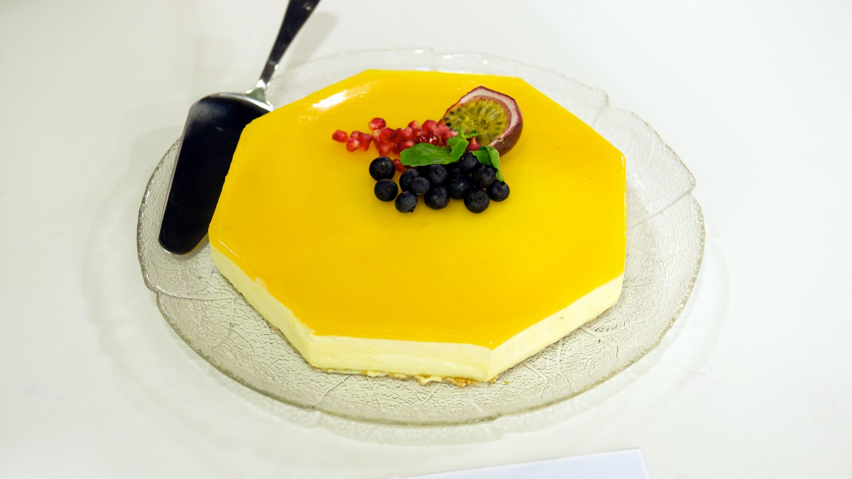 Pasjonsfrukt ostekake med nøttebunn