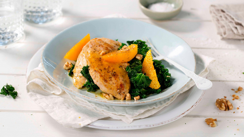 Kylling og grønnkål med varm appelsin