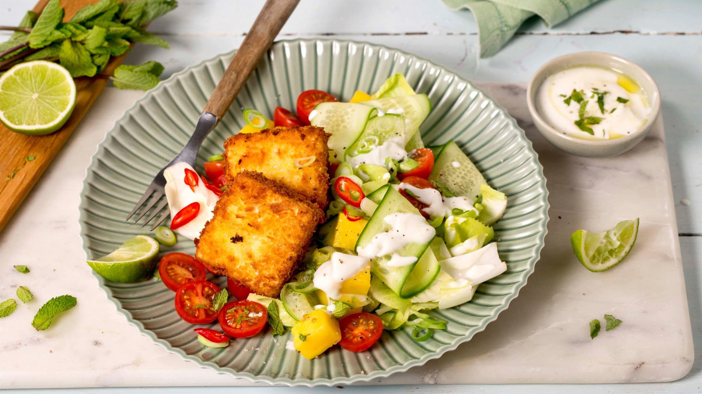 Fritert paneer med salat