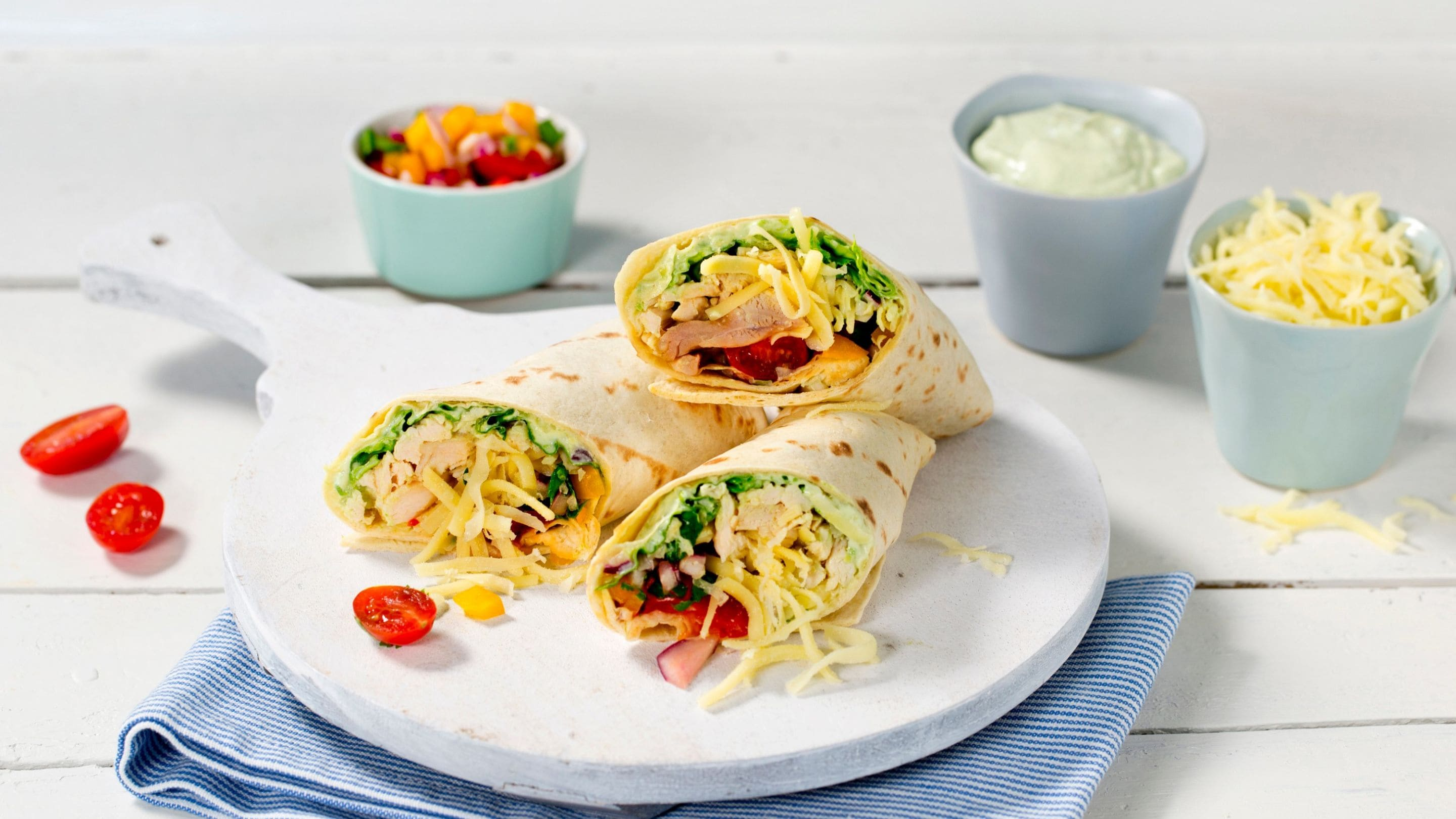 Burritos med ost og pulled chicken