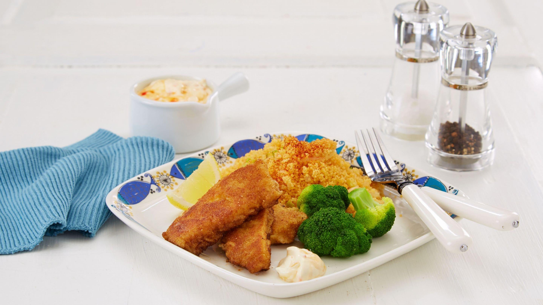 Oppskrift med Spicy fiskepinner med couscous