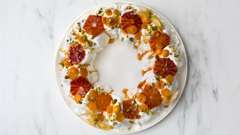 Pavlova-krans med appelsin