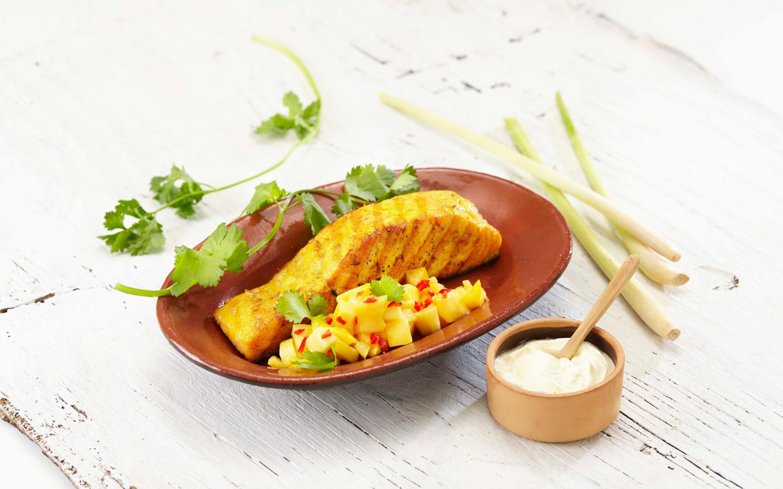 Grillet laks med mango