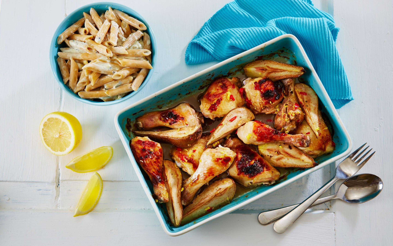 Krydret kylling med pære