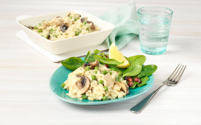 Ovnsbakt risotto med spinatsalat