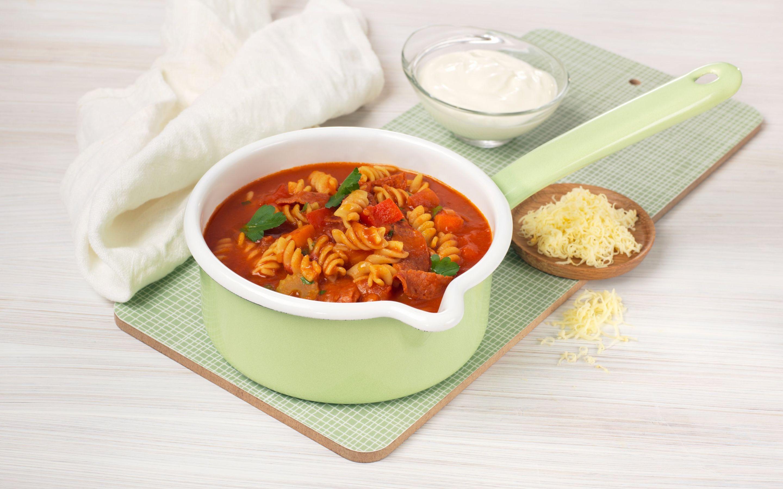 Pastasuppe med chorizo