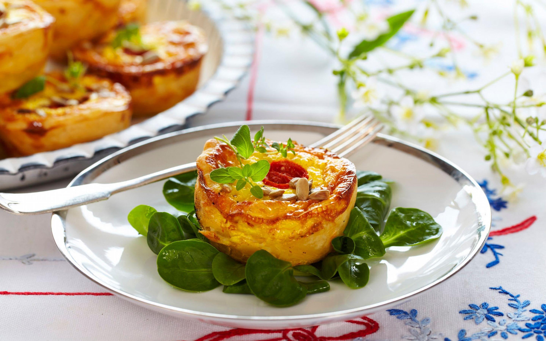 Minipaier med ost og skinke