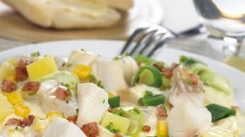 Kremet mais- og torskegryte