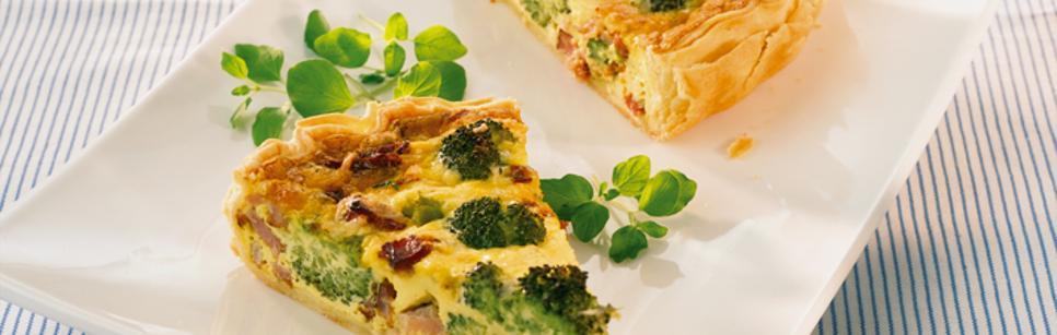 Oppskrift på pai med bacon og brokkoli