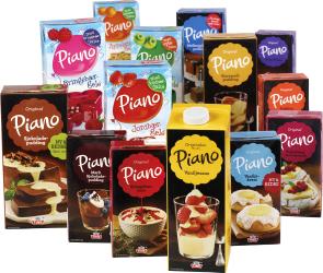 Piano geléer, puddinger og sauser